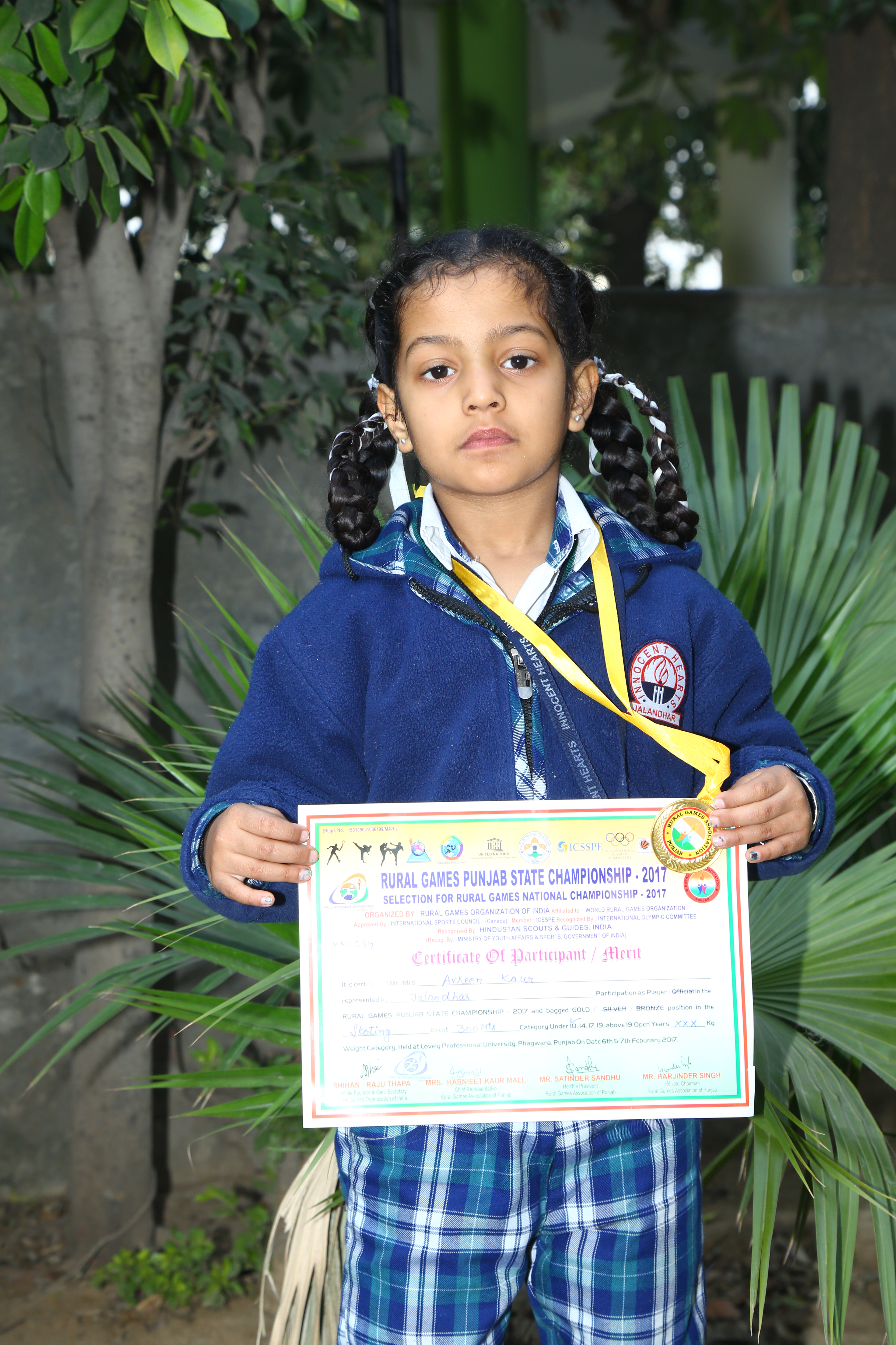 Avreen of INNOKIDS won Gold Medal in Skating at State Level