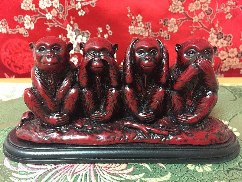 Fourth Monkey added to Gandhi's three wise monkeys