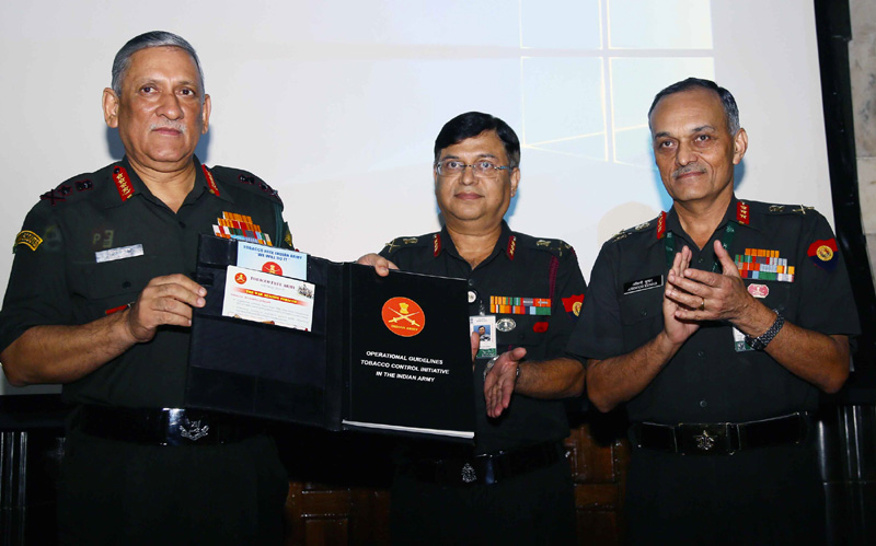 Chief of Army Staff, General Bipin Rawat releasing the Operational Guidelines for Tobacco Control Initiative in the Indian Army