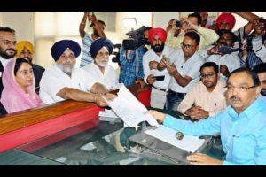 Sukhbir Badal files nomination papers from Ferozepur LS seat