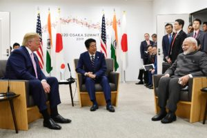 The Prime Minister,  Narendra Modi with the Prime Minister of Japan,  Shinzo Abe and the President of United States of America (USA),  Donald Trump