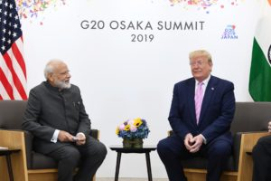 The Prime Minister,   Narendra Modi meeting the President of United States of America (USA), Mr. Donald Trump, on the sidelines of the G-20 Summit, in Osaka, Japan.