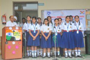 Innocent Hearts School Observed Kargil Vijay Diwas ; The children put Tilak with Matti of Kargil