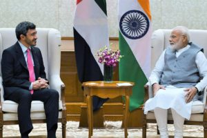 The Minister of Foreign Affairs and International Cooperation of UAE, Sheikh Abdullah Bin Zayed Al Nahyan meeting the Prime Minister, Shri Narendra Modi, in New Delhi.