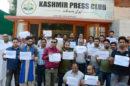 Kashmiri journalists protest an English daily's report branding them as jihadists