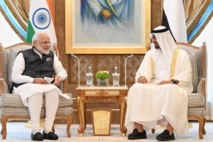 The Prime Minister, Shri Narendra Modi meeting the Crown Prince of Abu Dhabi, Sheikh Mohammed Bin Zayed Al Nahyan, at Abu Dhabi, in UAE.