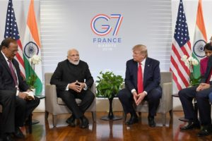 The Prime Minister, Shri Narendra Modi meeting the President of United States of America (USA), Mr. Donald Trump, on the sidelines of the G7 Summit, in Biarritz, France.