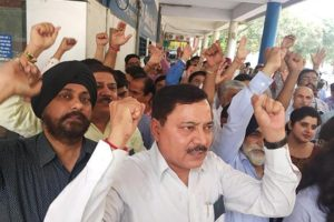 Bank employees held massive  demonstraiton to protest against proposed merger of 10 Banks