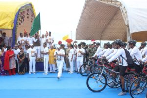G. Kishan Reddy flags off of Cycle Rally organized and participated by various Paramilitary Forces in Porbandar