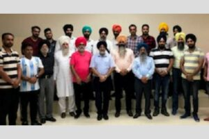 President of Khalsa Football Club Harjeet Singh Grewal with the members of the Club during meeting at Amritsar on October 26, 2019