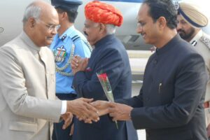 PUNJAB GOVERNOR, DC, SSP WELCOME PRESIDENT OF INDIA DURING HIS BRIEF STAY AT ADAMPUR AIRPORT
