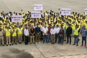 Kailash Gahlot inspects the training of Civil Defence volunteers for Odd-Even