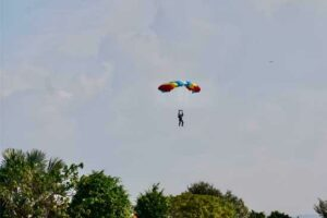 Group Captain Kamal Singh performs Para Jumping Feat from 5000ft at MLF-2019