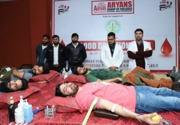 Blood donation & Health checkup camp organized at Aryans Group