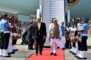 Prime Minister,  Narendra Modi welcoming  President of United States of America (