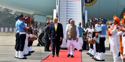 Prime Minister Narendra Modi welcoming President of United States of America