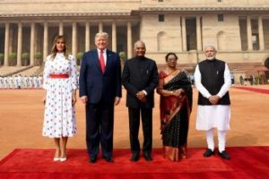 President, Ram Nath Kovind and the Prime Minister, Narendra Modi welcomes the President of United States of America