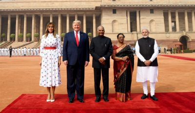 President Ram Nath Kovind and the Prime Minister Narendra Modi welcomes the President of United States of America