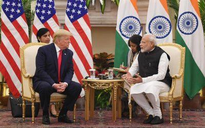 Prime Minister Narendra Modi meeting the President Donald Trump
