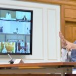 The Prime Minister, Shri Narendra Modi interacting with the Chief Ministers of States via video conferencing