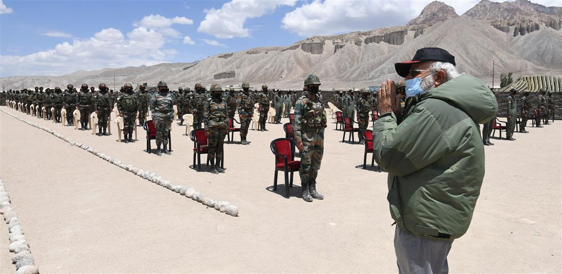 Prime Minister, Narendra Modi visits Nimu in Ladakh to interact with Indian troops.